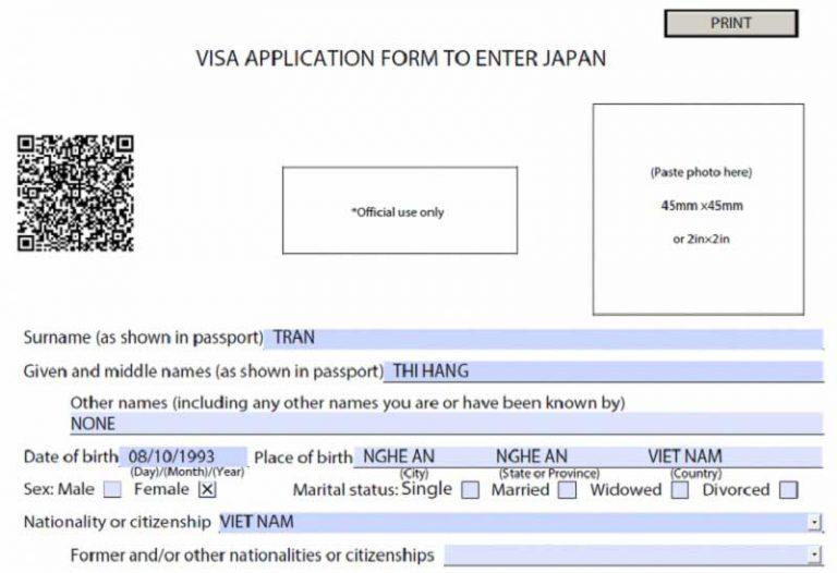 Hướng dẫn khai form xin visa du học Nhật Bản